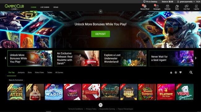 Gaming Club Casino Screenshot