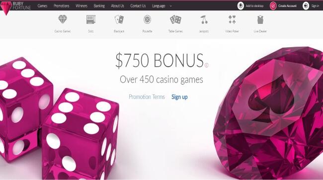Ruby Fortune Casino Screenshot