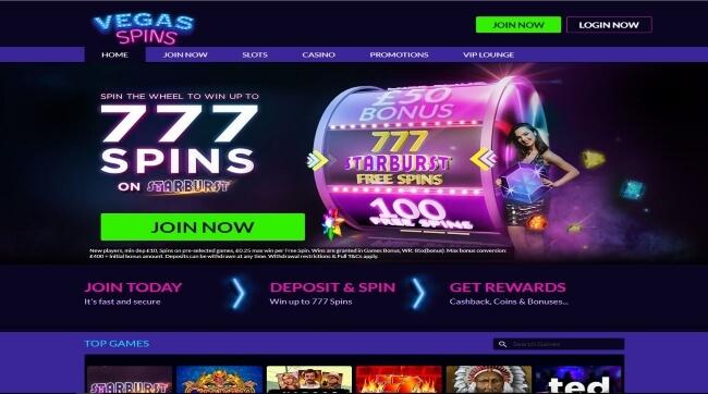 Vegas Spins Casino Screenshot