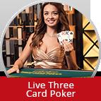 Bet on Live Three Card Poker
