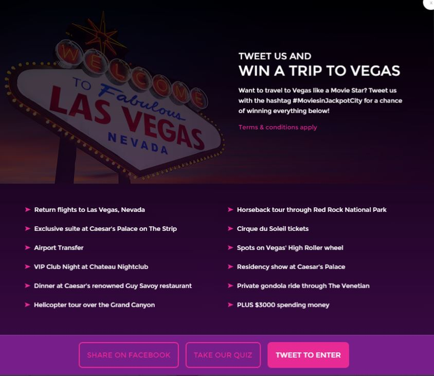 Win a Trip to Las Vegas with JackpotCity Online Casino